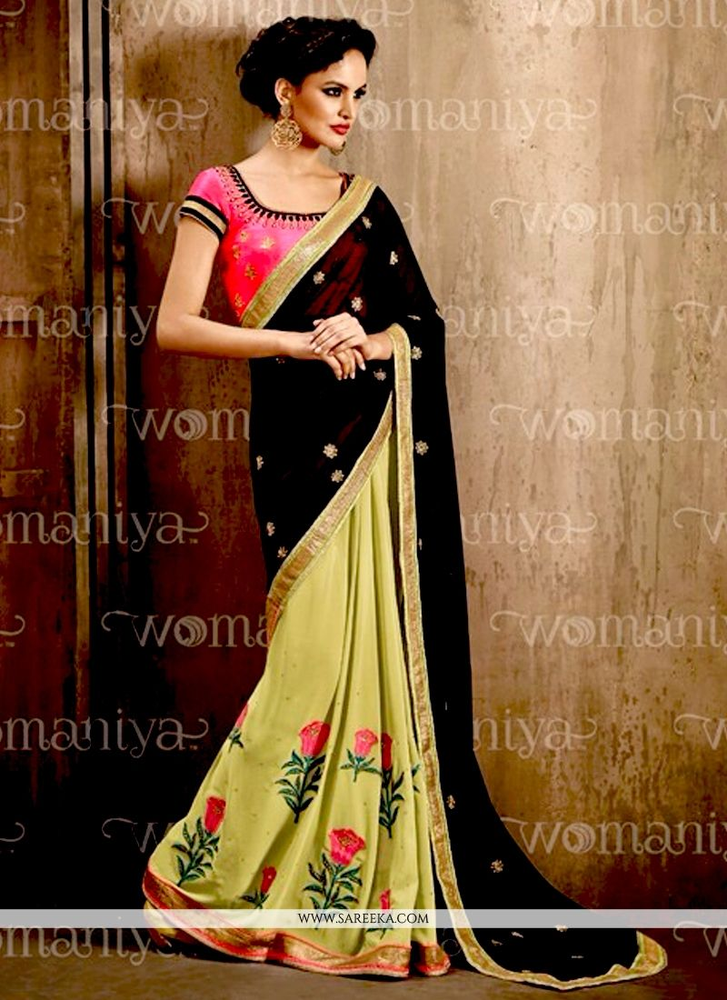 Georgette Black and Green Embroidered Work Contemporary Style Saree