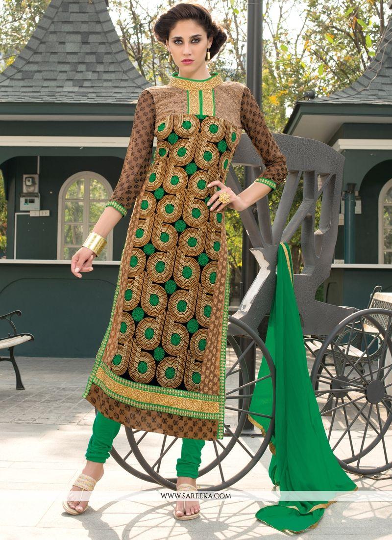 Georgette Lace Work Churidar Salwar Kameez