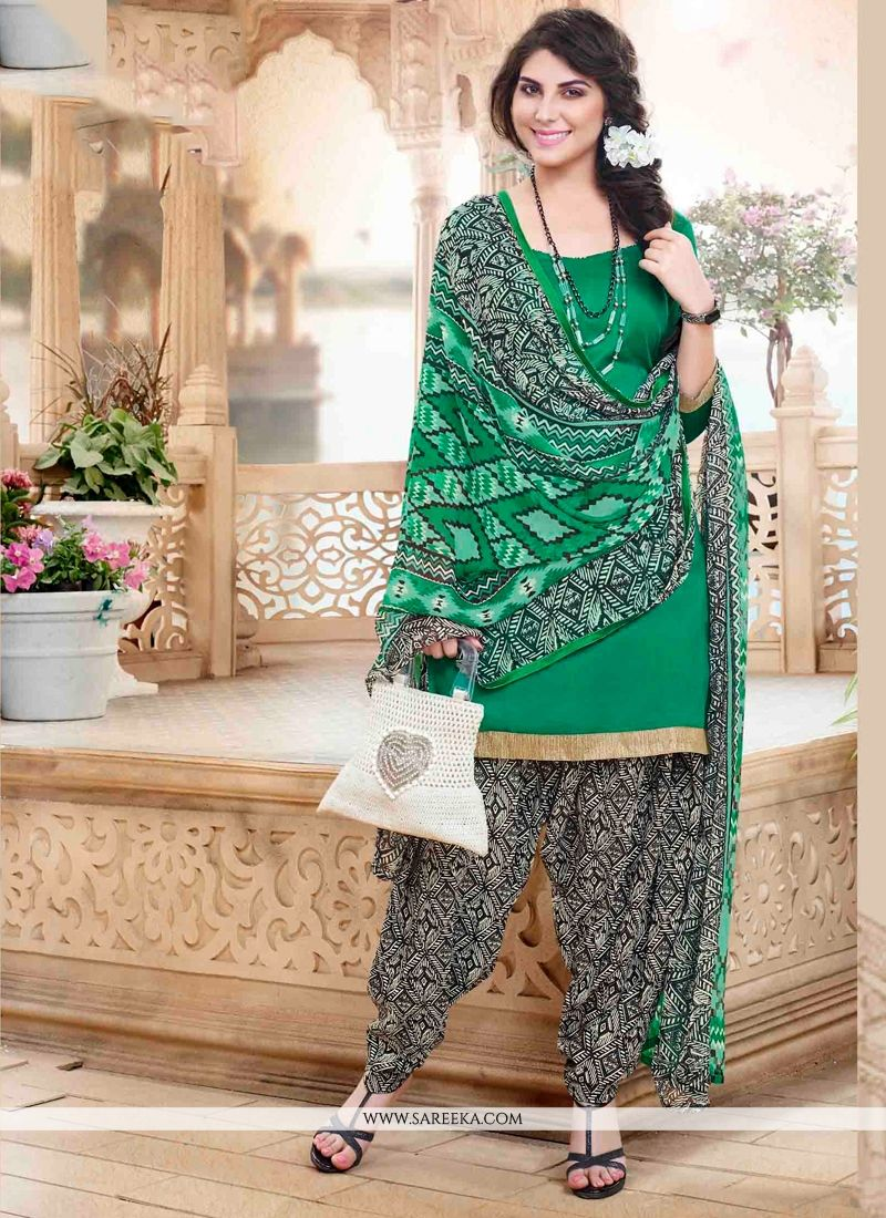 Green Designer Patiala Suit