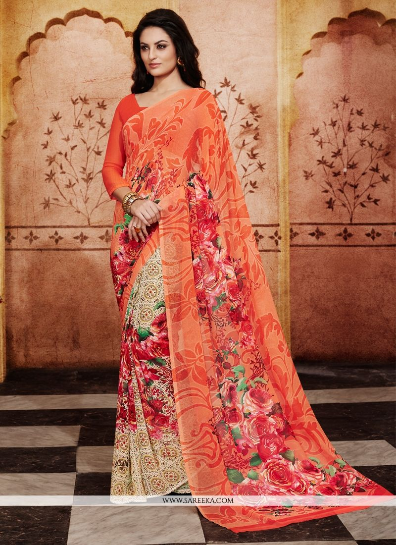 Print Work Orange Georgette Casual Saree