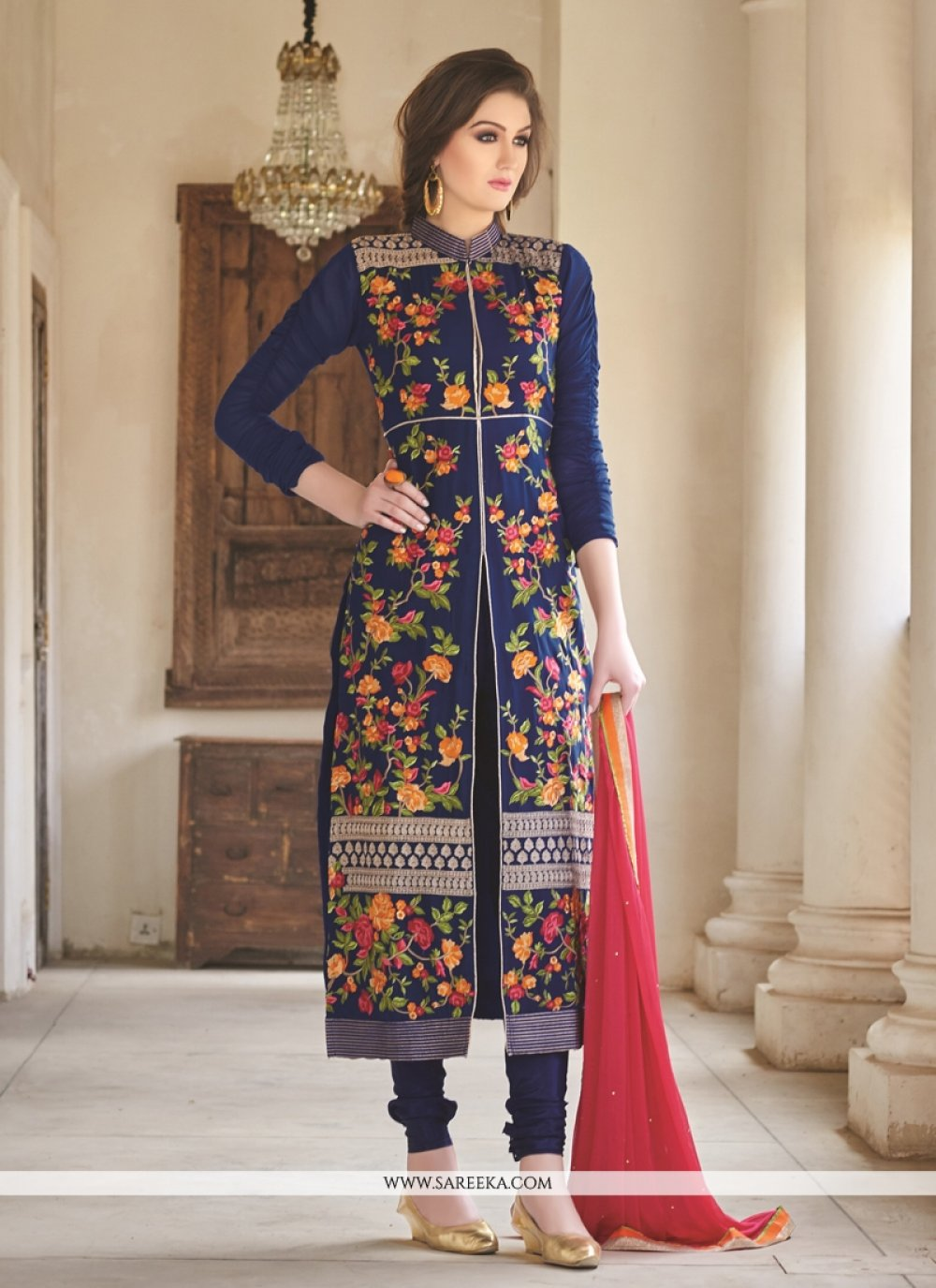 Vehemently Georgette Blue Designer Straight Suit