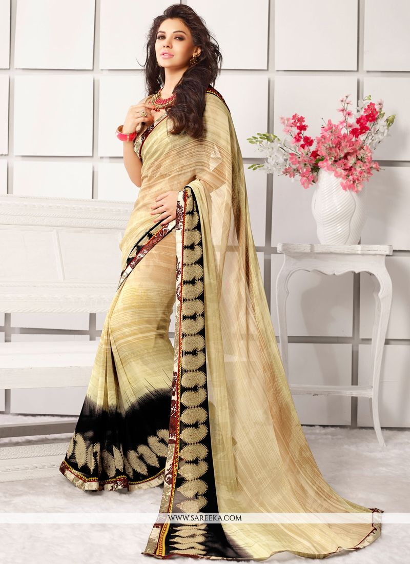 Vehemently Georgette Cream Lace Work Casual Saree