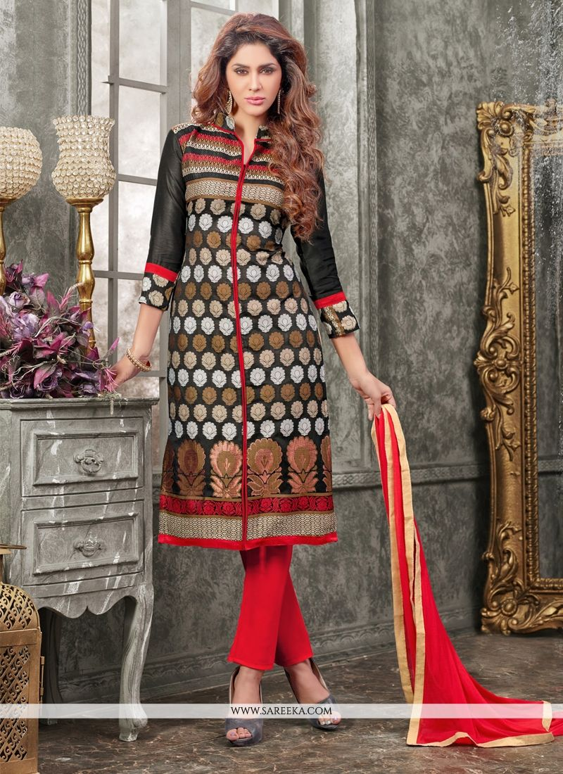 Black Churidar Designer Suit
