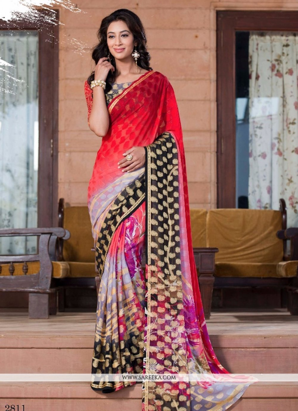 Red Print Work Casual Saree