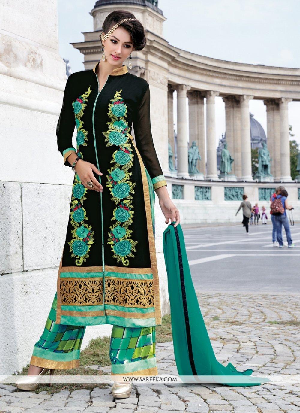Black Georgette Designer Palazzo Salwar Suit