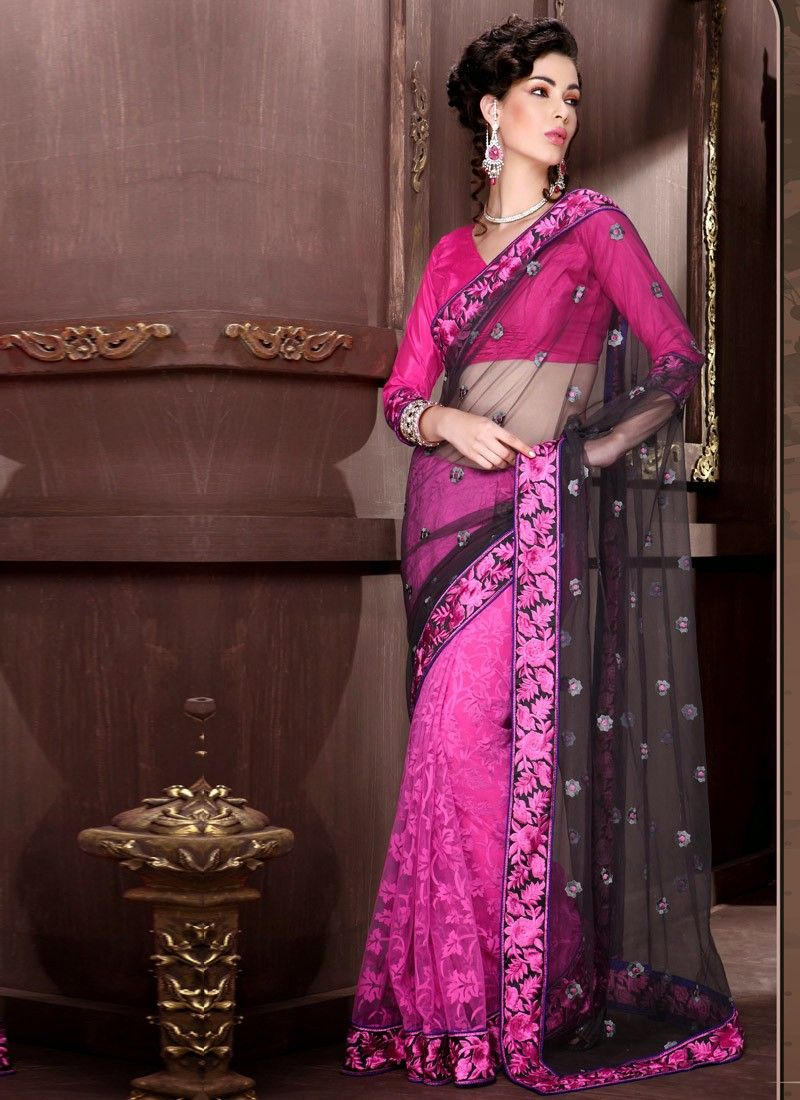 Black Net Half And Half Saree