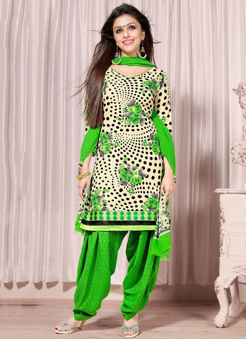 Cream And Green Printed Salwar Suit