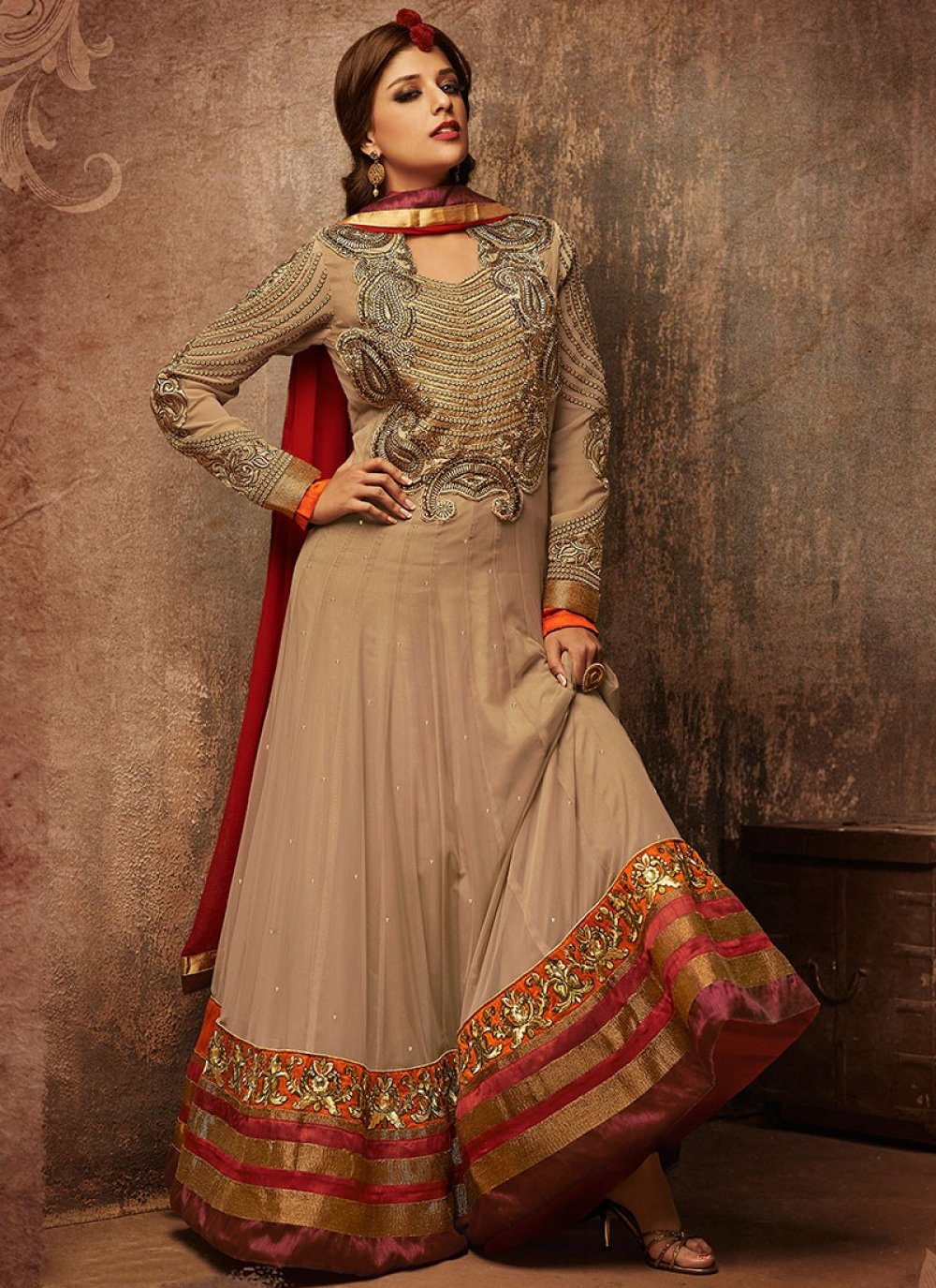 Cream Net Embroidered Anarkali Suit