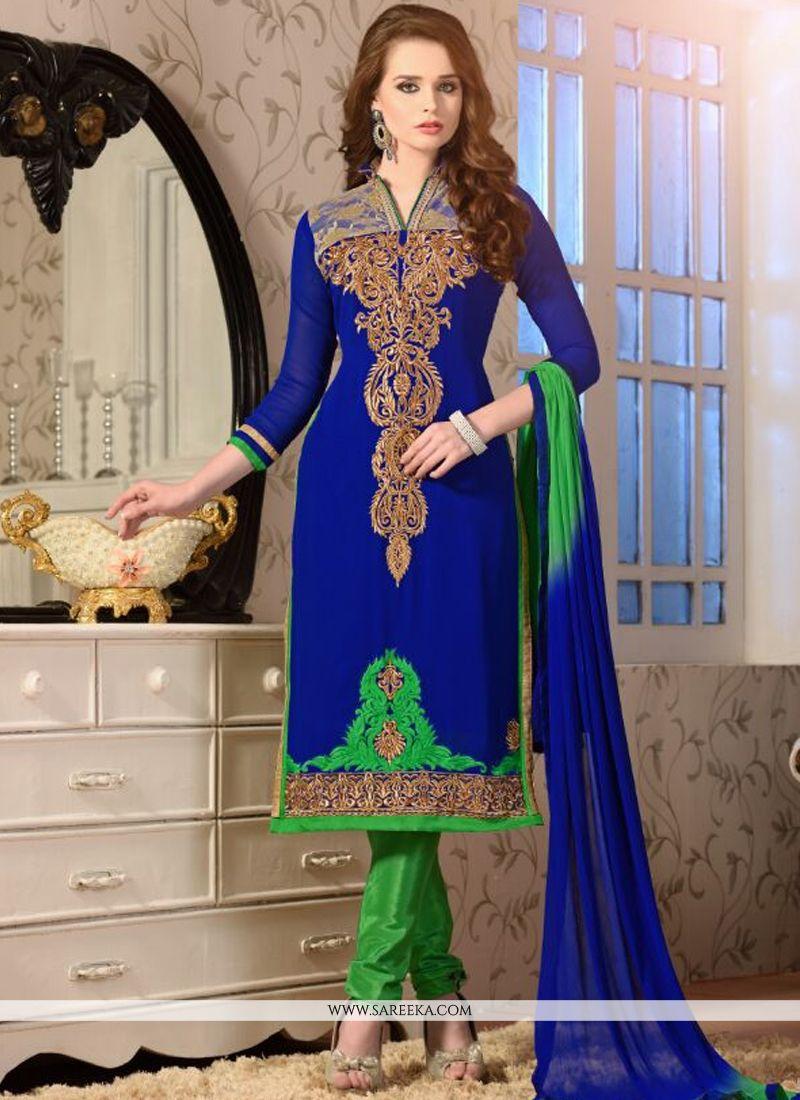 Embroidered Work Blue Churidar Salwar Kameez