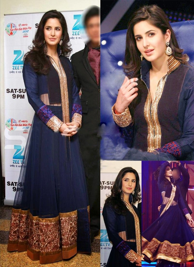 Katarina Kaif Raw Silk Blue Designer Suit
