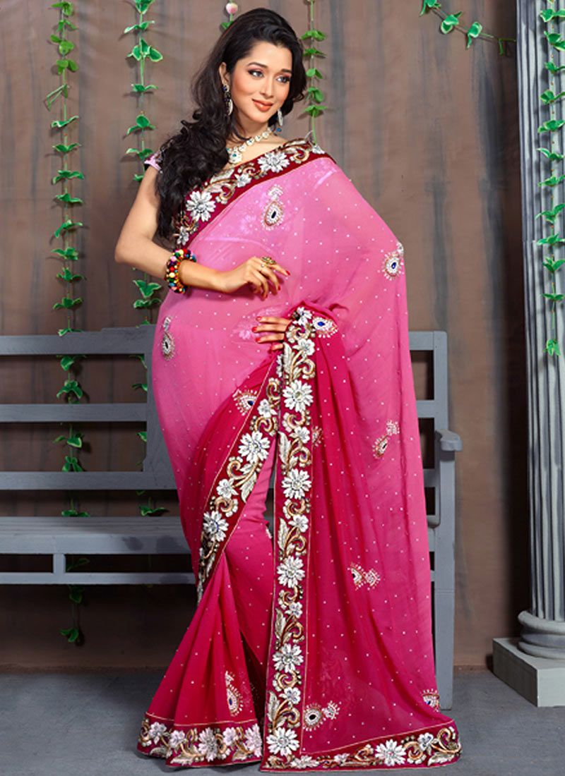 Magenta Patch Border Work Saree