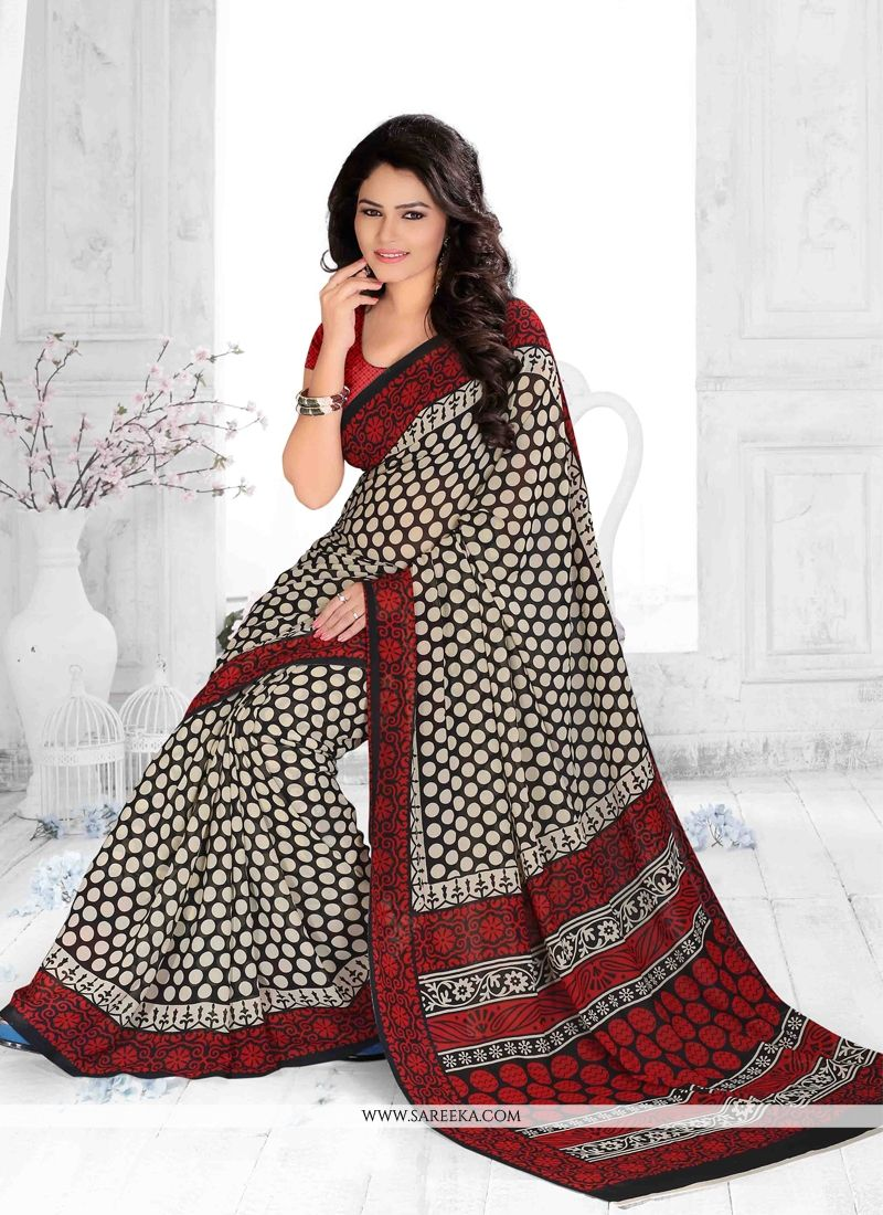 Multi Colour Print Work Georgette Casual Saree