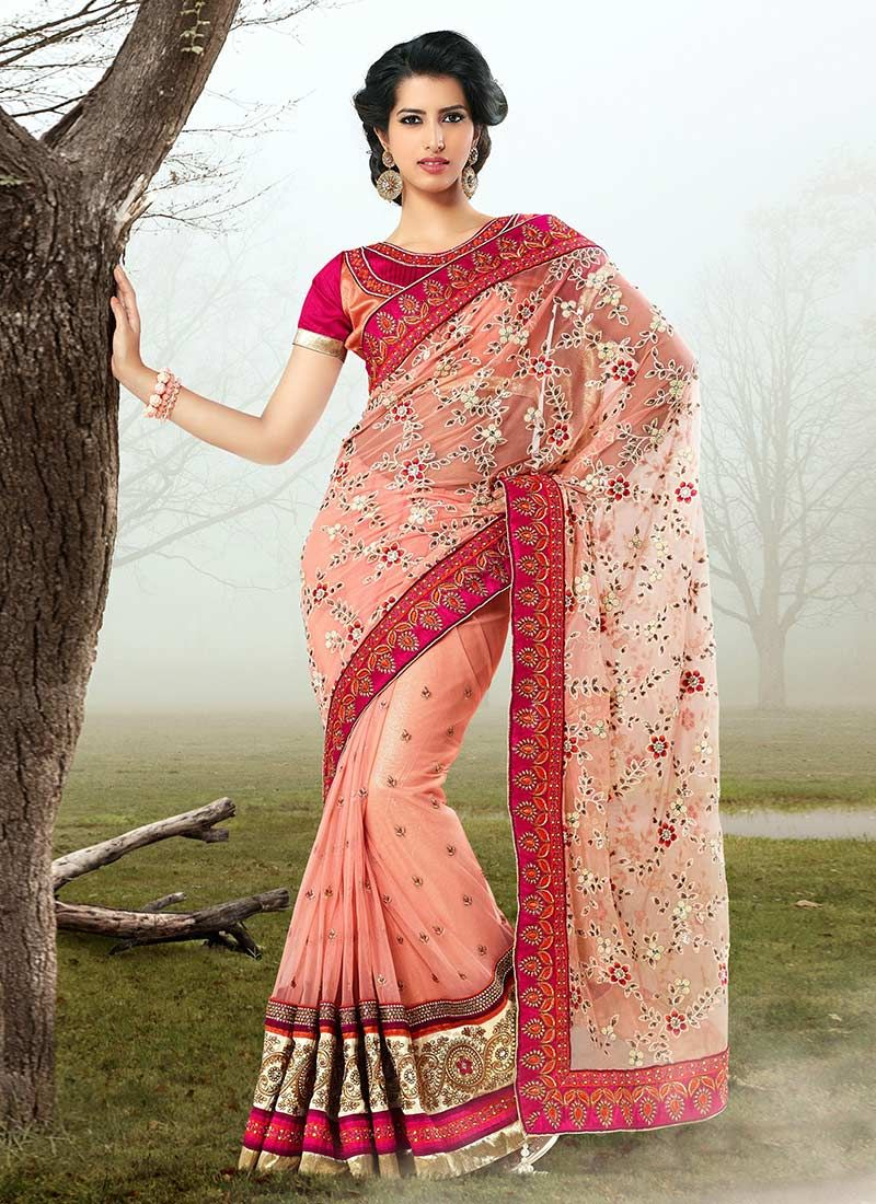 Peach Net Designer Saree