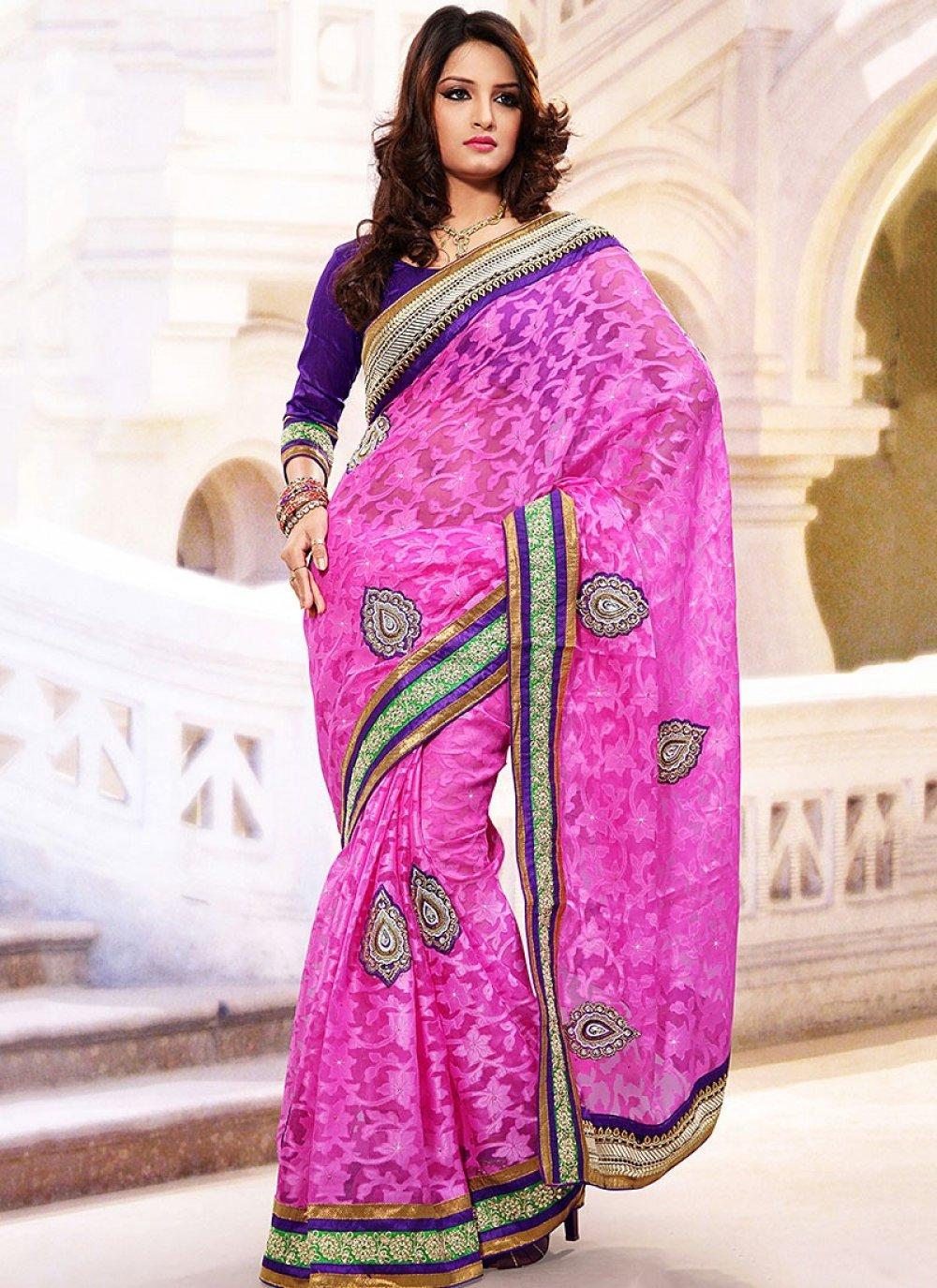 Pink Net Jacquard Saree