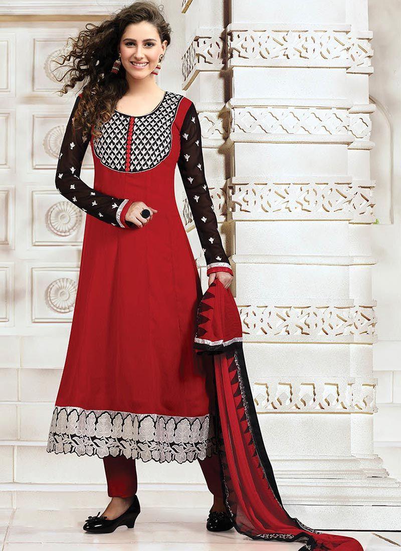 Red Georgette Punjabi Suit