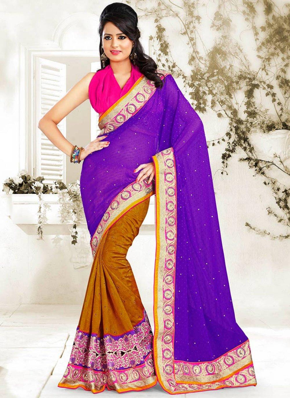 Violet And Rust Bhagalpuri Silk Saree