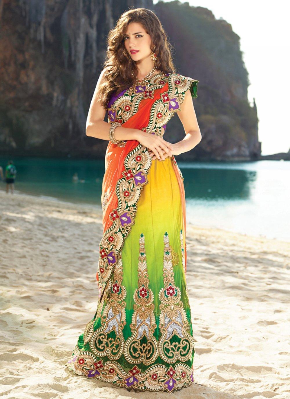Aloe Vera Green, Coral & Gold Color Embroidered Lehenga Style Saree