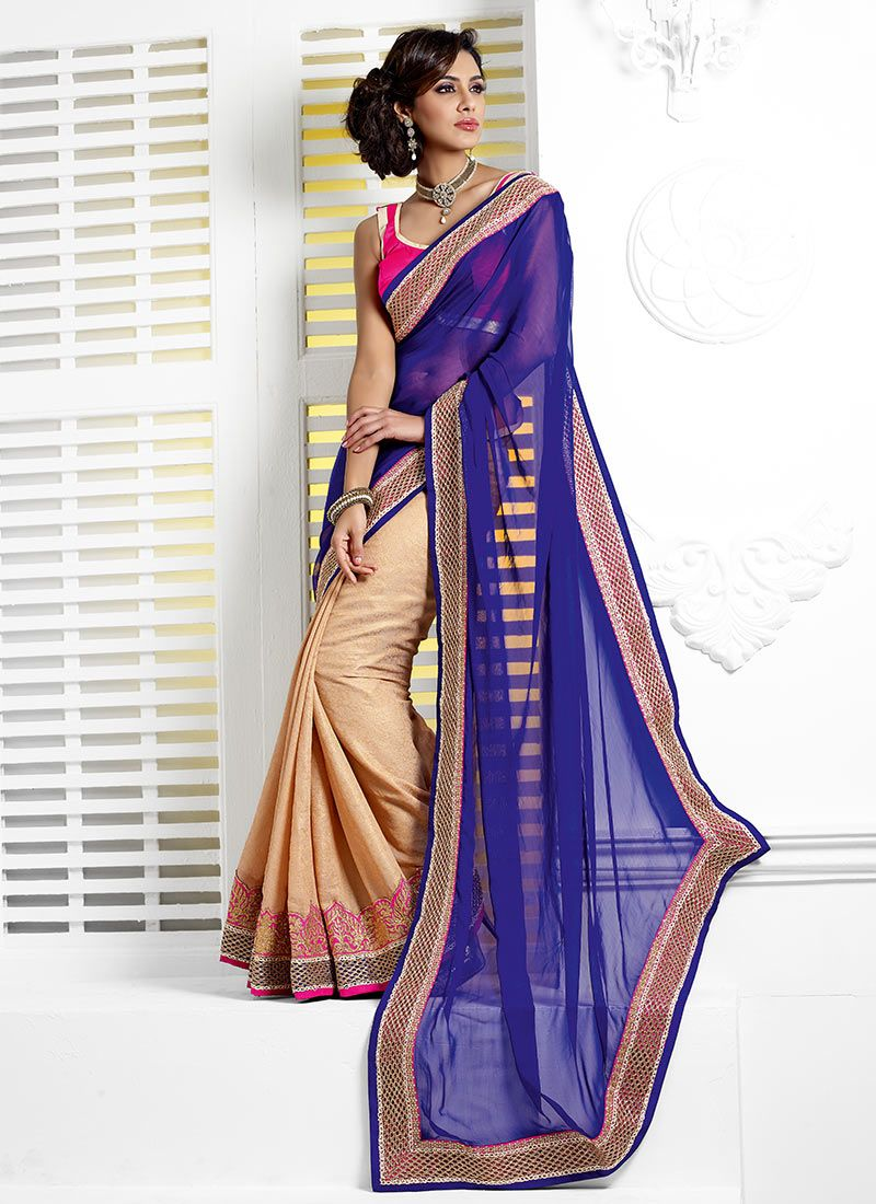 Blue And Cream Half And Half Saree