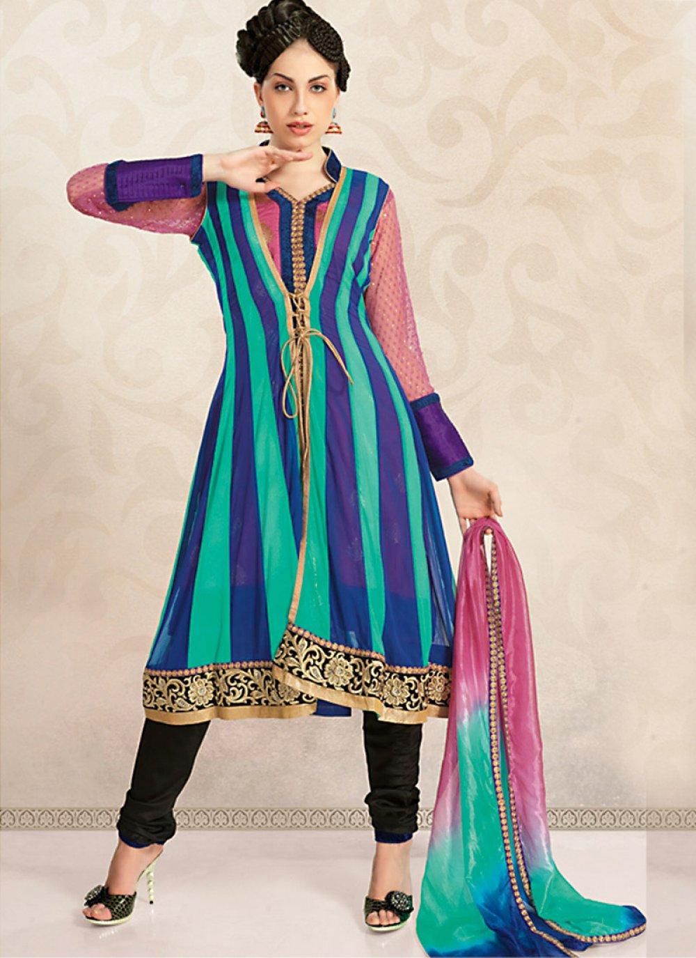 Deep Pink, Navy Blue & Tal Blue Salwar Kameez