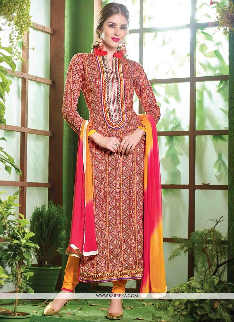 Embroidered Work Cotton   Red Salwar Suit