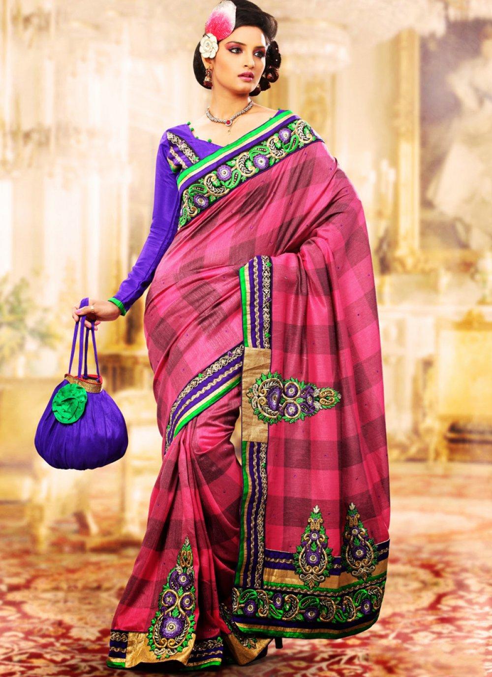 Fuchsia Embroidered Saree