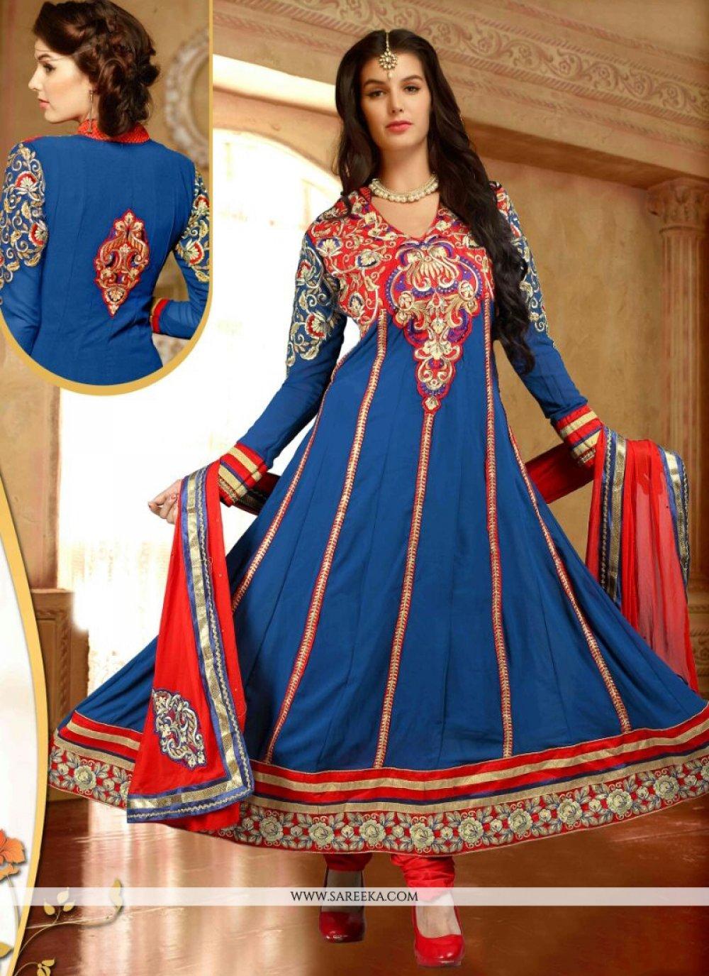 Lace Work Blue Georgette Anarkali Suit