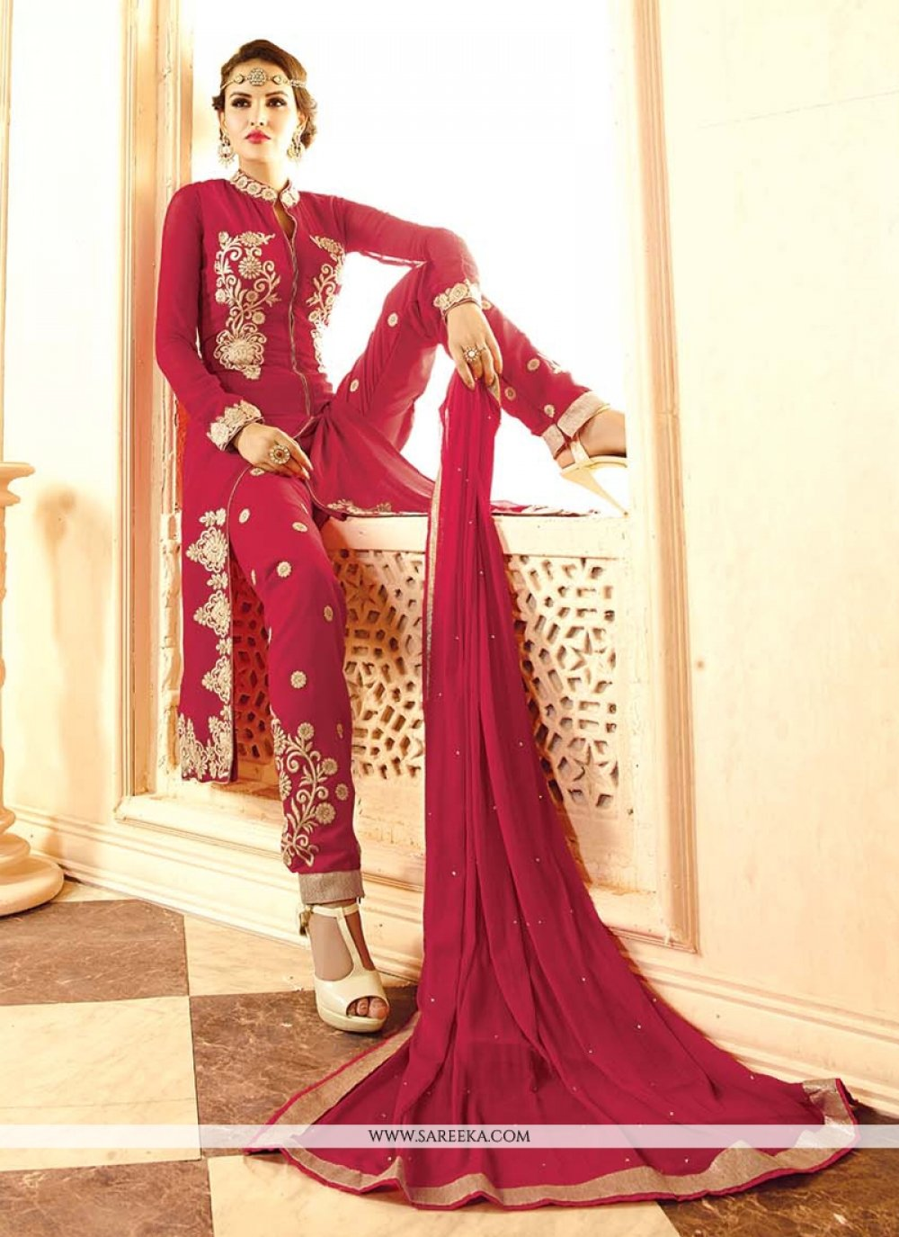 Magenta Embroidered Work Georgette Designer Salwar Suit