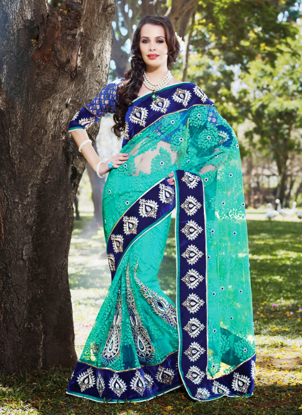 Navy Blue & Tal Blue Embroidered Saree