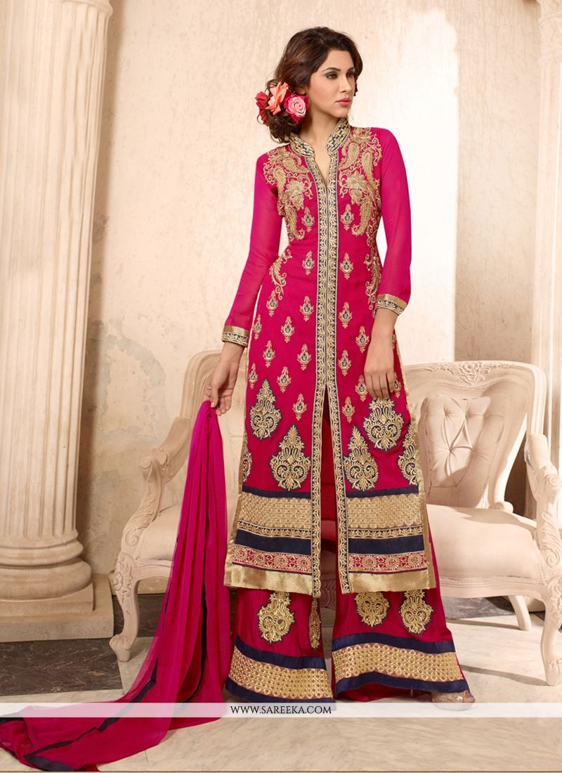 Zari Work Georgette Hot Pink Designer Palazzo Suit