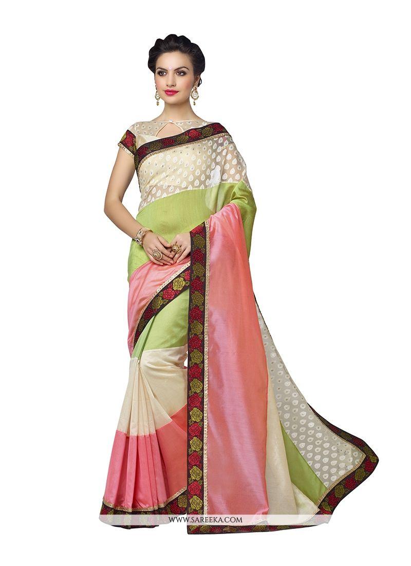Banarasi Silk Green and Pink Designer Saree