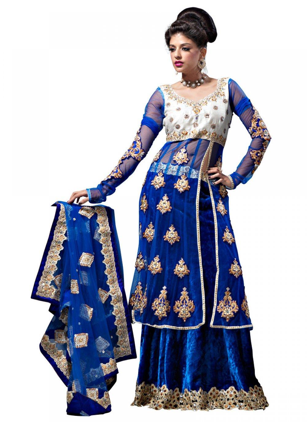 Blue A Line Lehenga Choli