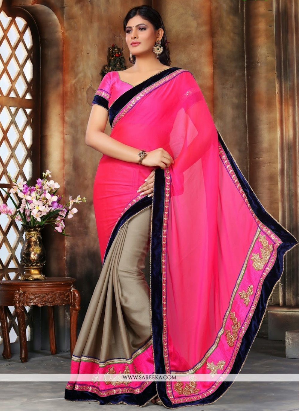 Brown and Hot Pink Embroidered Work Faux Chiffon Designer Saree