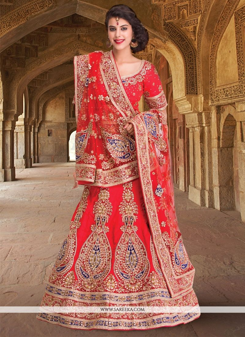 Embroidered Work Raw Silk A Line Lehenga Choli