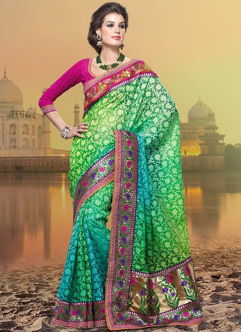 Green Banarasi Cotton Silk Saree