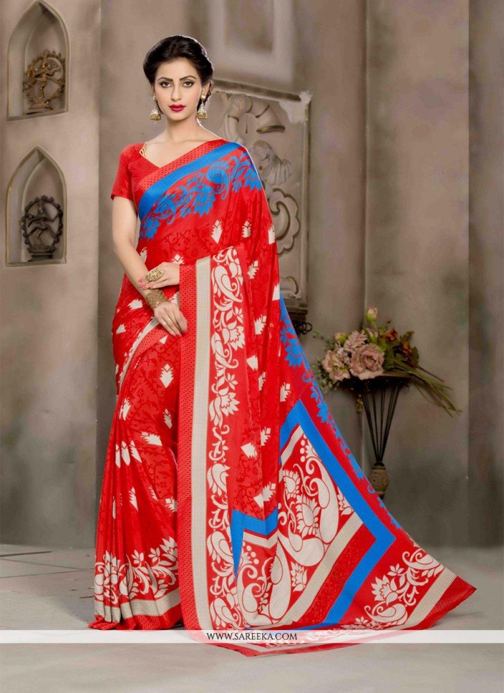 Red Crepe Silk Casual Saree