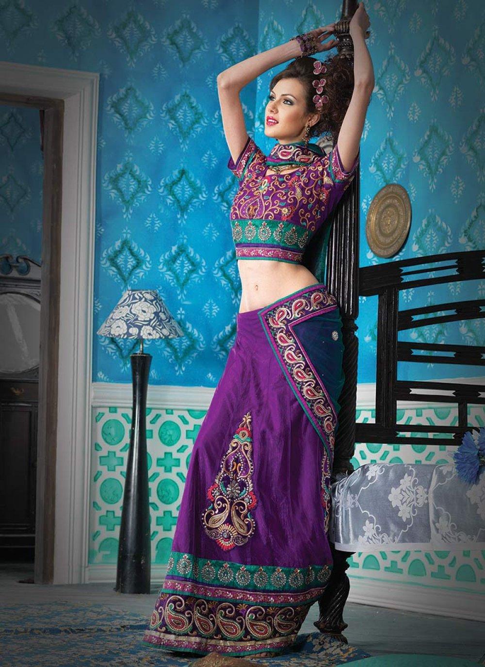 Violet Net Lehenga Style Saree