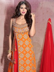 Cutdana Work Orange Anarkali Salwar Kameez