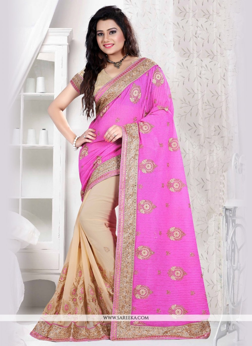 Faux Chiffon Hot Pink and Beige Resham Work Designer Saree