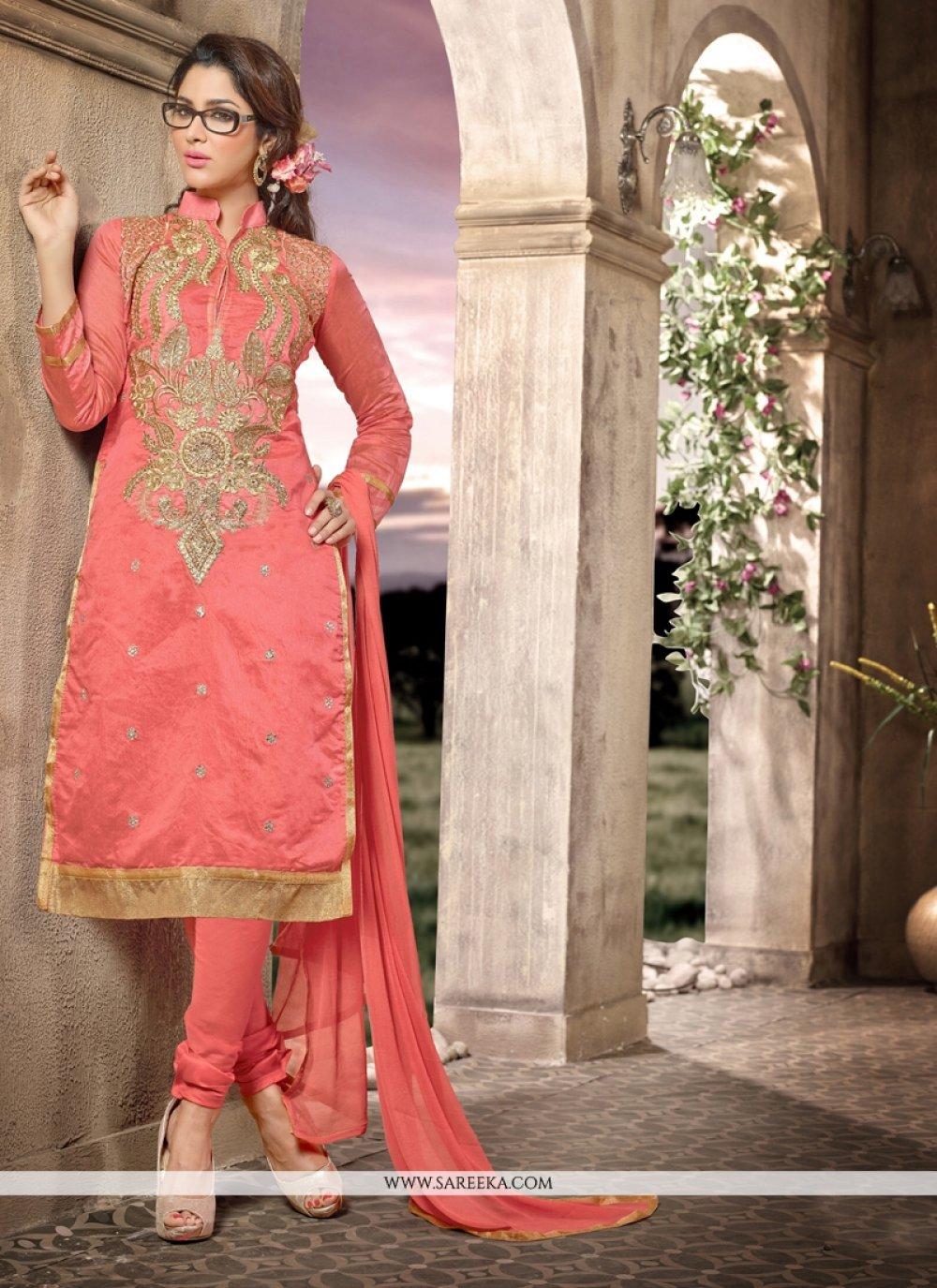 Lace Work Chanderi Peach Churidar Salwar Kameez