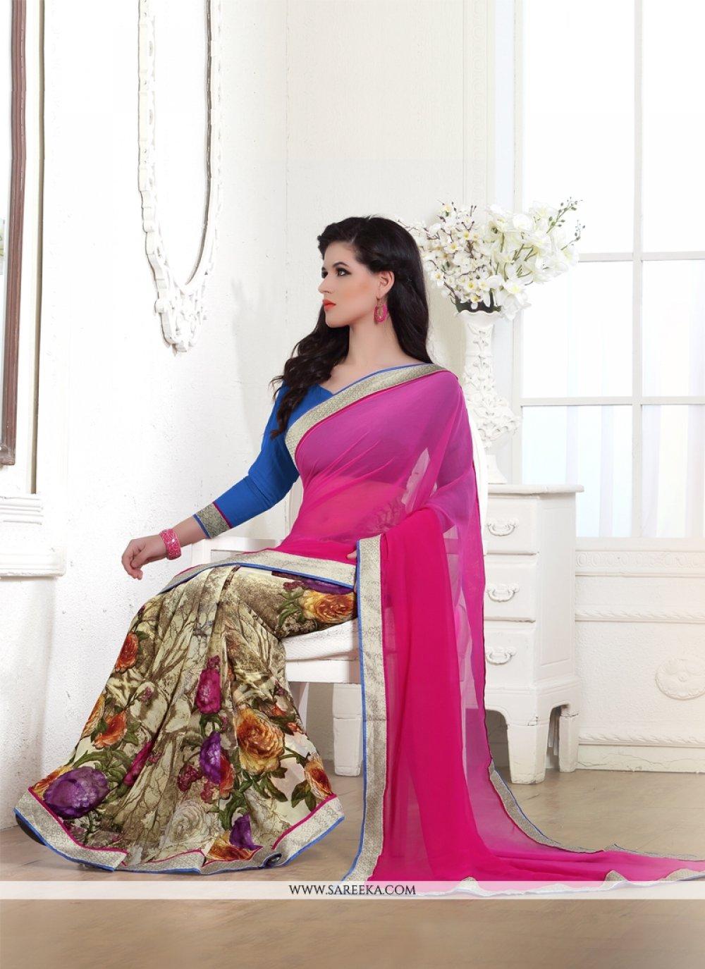 Print Work Hot Pink Casual Saree
