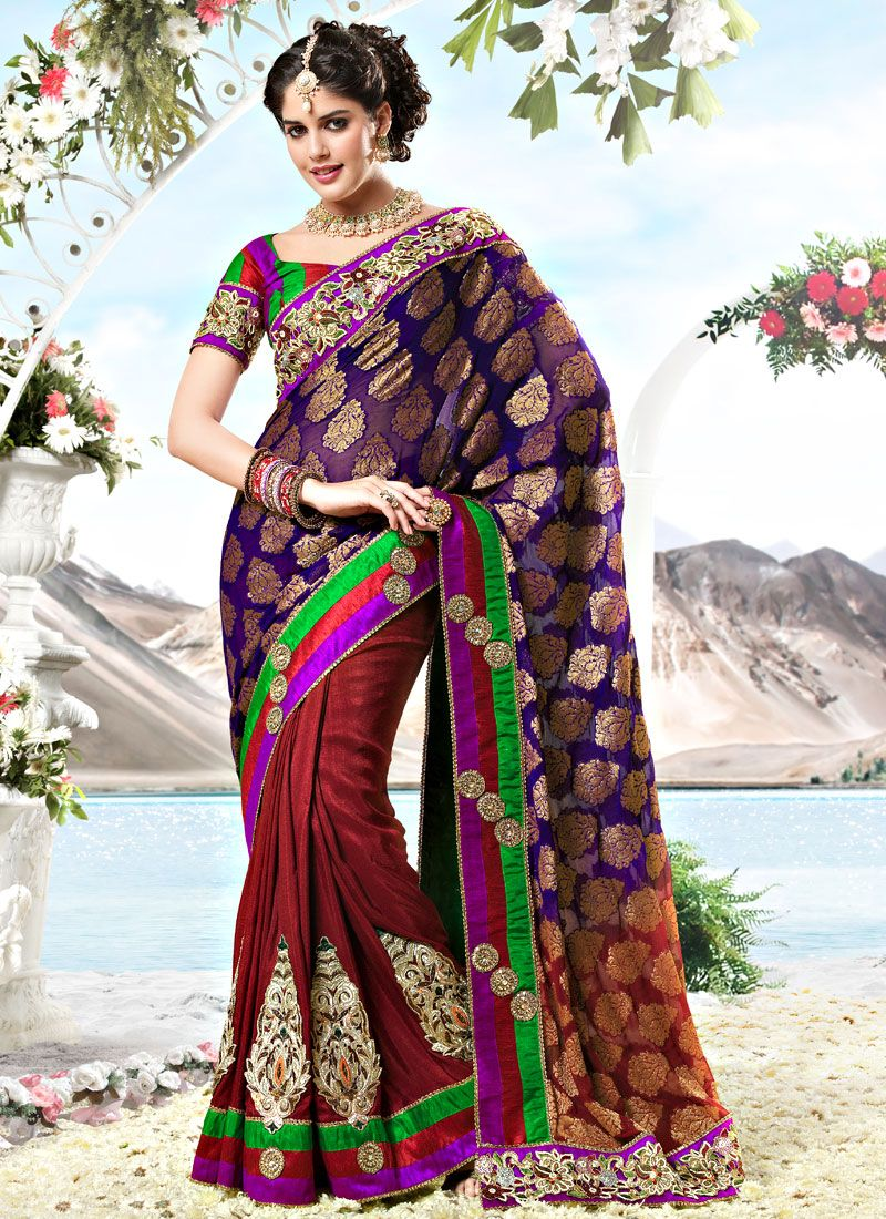 Voilet and Maroon Viscose and Art Silk Saree