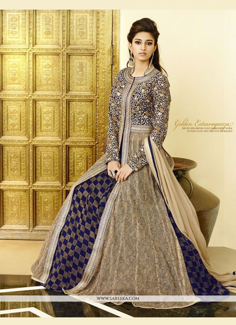 Georgette Navy Blue Zari Work Lehenga Choli