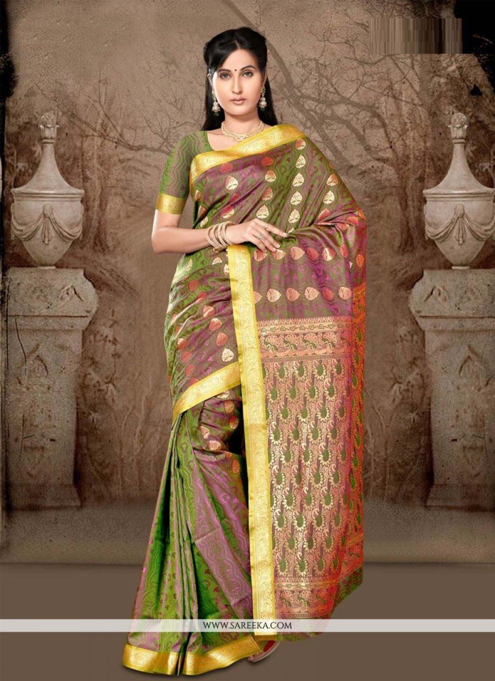 Green Lace Work Art Silk Casual Saree