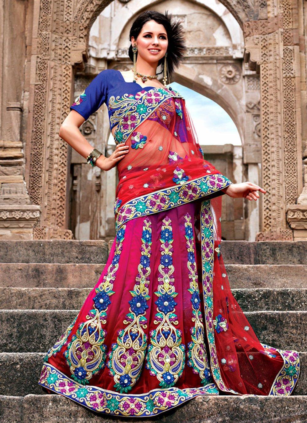 Wedding Net Lehenga Saree