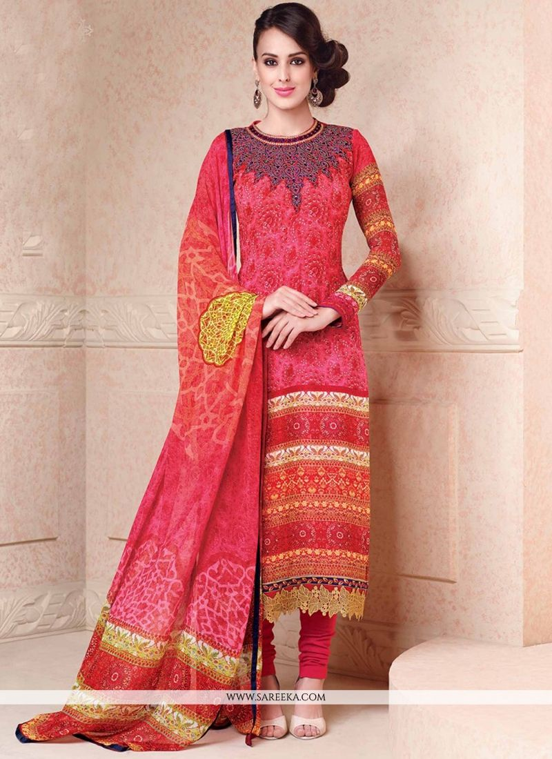 Hot Pink Lace Work Churidar Salwar Suit