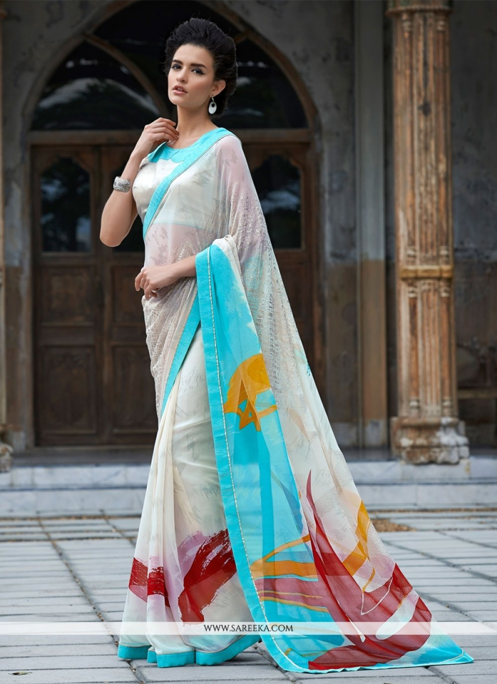 Print Work Bamber Georgette  Casual Saree