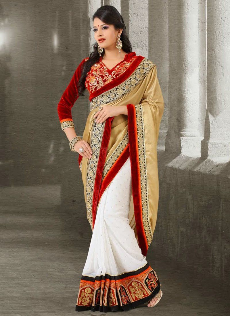 White And Beige Border Work Faux Chiffon Half And Half Saree