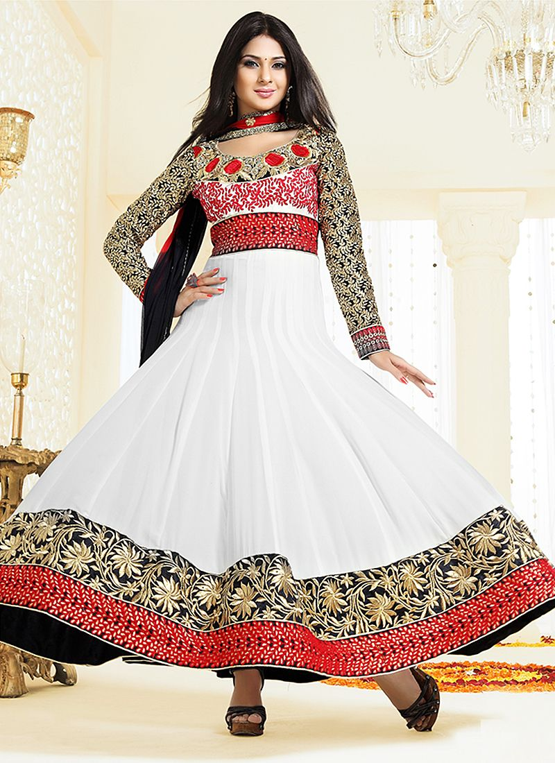 White And Black Patch Resham Work Anarkali Suit