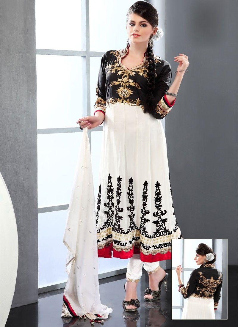 White And Black Viscose Churidar Suit