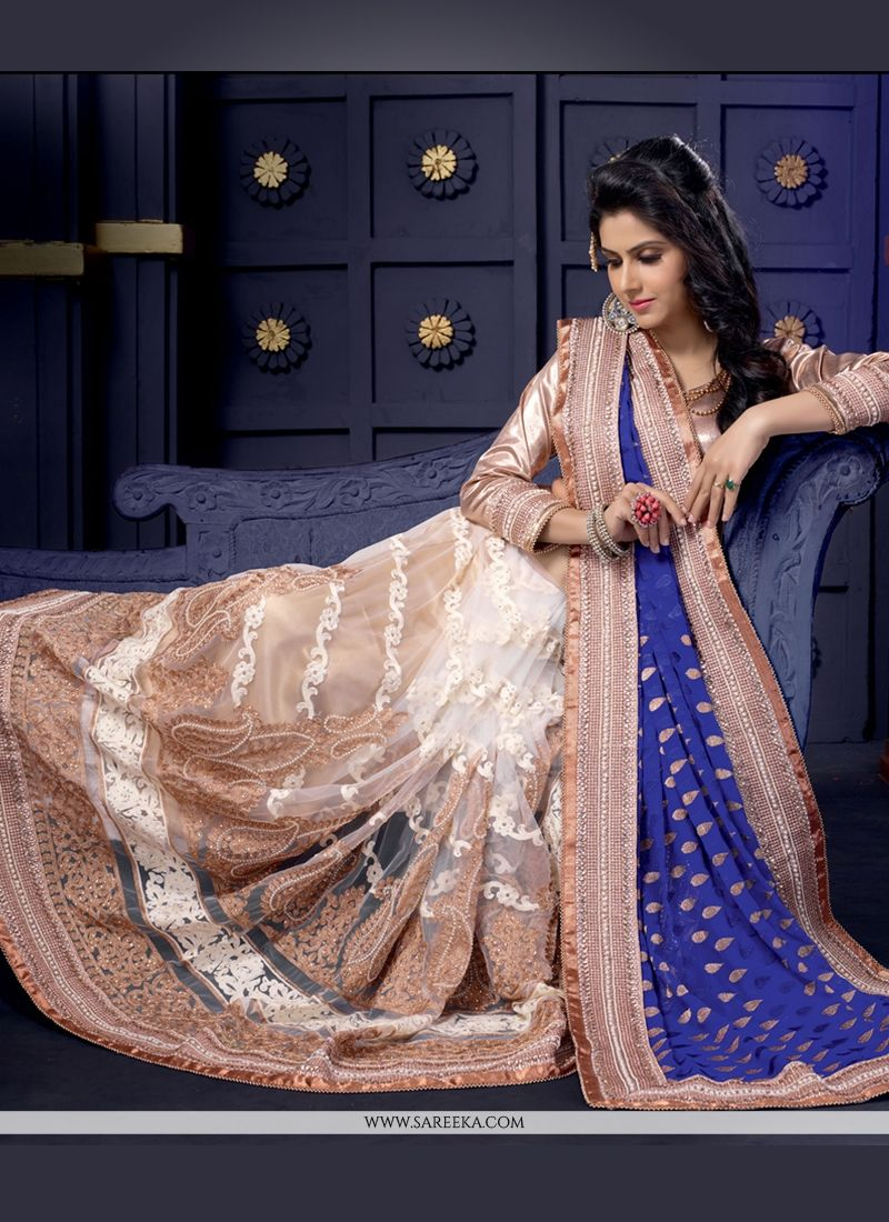 White And Blue Georgette And Net Designer Saree